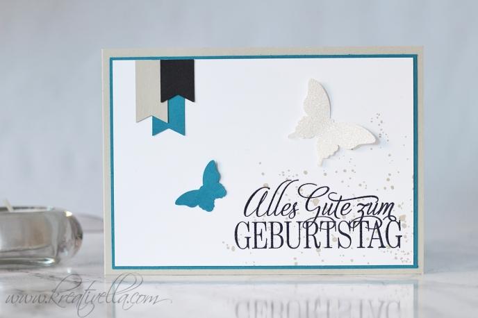 Geburtstagskarte Schmetterlinge Geburtstagsgrüße für alle Gastgeberin Fähnchen Stampin' Up! 2016