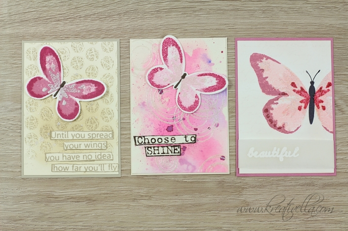 ATC Schmetterlinge Butterflies Wings Falter Beautiful wunderschön Swirly Bird Aquarell Hintergrund Wasserfarben Watercolor Wings Tim Holtz Quintessentials Stampin' Up! Kreativella 2016 Stempeltreff Stammtisch Tausch Mini Minikärtchen Karte Kleinigkeit Anhänger