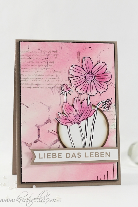 Karte Helping me grow Liebe das Leben Love your life beautiful die kleinen dinge grunge look rosa pink coloriert Bienenwaben Stampin' Up! 2016