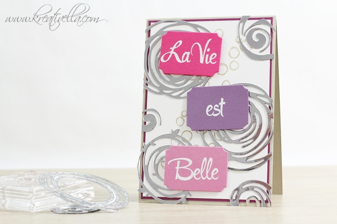 Karte La Vie est belle das Leben ist schön wunderbar französisch Spruch Zitat inspirierend selbstgemachte Karte Swirly Bird Scribbles brushwork alphabet playful backgrounds stampin' Up! annual catalog 2016 2017 17 Inkspiration Weeks Bloghop neue Ideen Jahreskatalog Beautiful