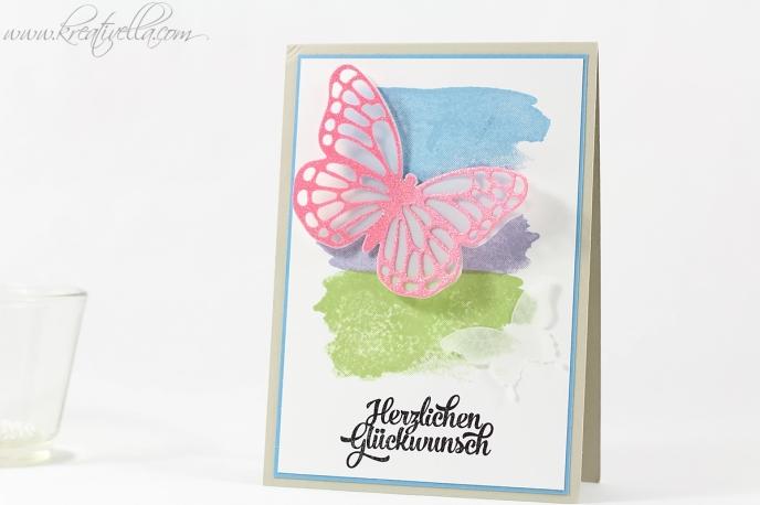 Schnelle Geburtstagskarte Schmetterling Grußelemente Pinselstrich Brushstoke Butterfly Stanze filigran Glitzer embosst Herzlichen Glückwunsch Stampin' Up! 2016 einfach