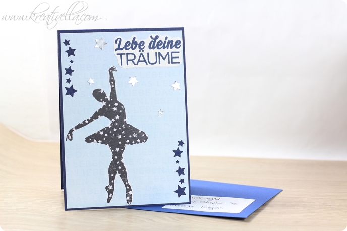 Karte Card Motivation Spruch Liebe das Leben Ballerina Tänzerin Tanzen Ballet Plissee Zukunft Hol mir die Sterne vom Himmel Heindesign Projekt 2016 Gelli Plate