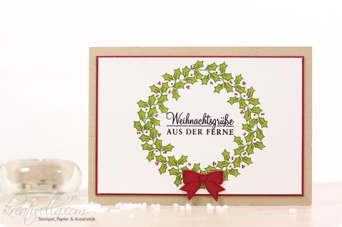 Weihnachtskarte Adventsgrün Adventsgruen wreath Adventskranz Kranz Weihnachten Christmas Xmas Schleifchen Schleife Weihnachtsgrüße Ferne Weihnachtspost Mail Stampin' Up! Kreativella 2016