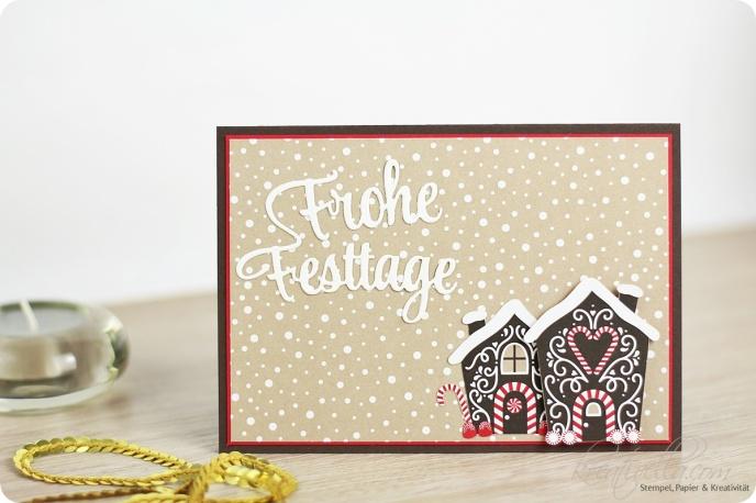 Weihnachtskarte Knusperhäuschen DSP Frohe Festtage Candy Cane Zuckerstangenzauber Lebkuchenhäuschen Haus Winter Landschaft Schneefall Stampin Up Kreativella