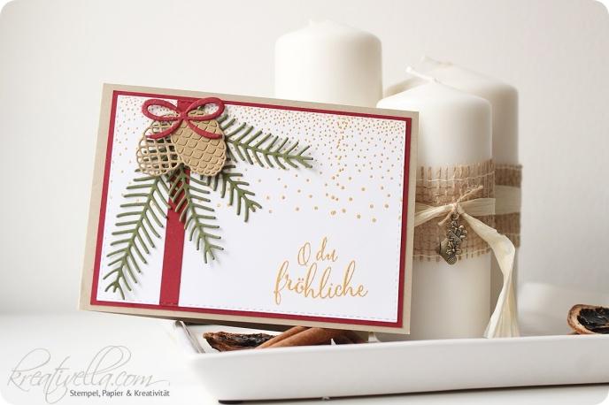 Weihnachtskarte Christmas Card Tannenzwei Tannenzapfen Pine Merry tags Allerbeste Wünsche Anhänger rot Savanne klassische Weihnachtsfarben clean simple einfach gestanzt gestempelt embosst gold Kerzen Deko Stampin' Up! 2016 Kreativella