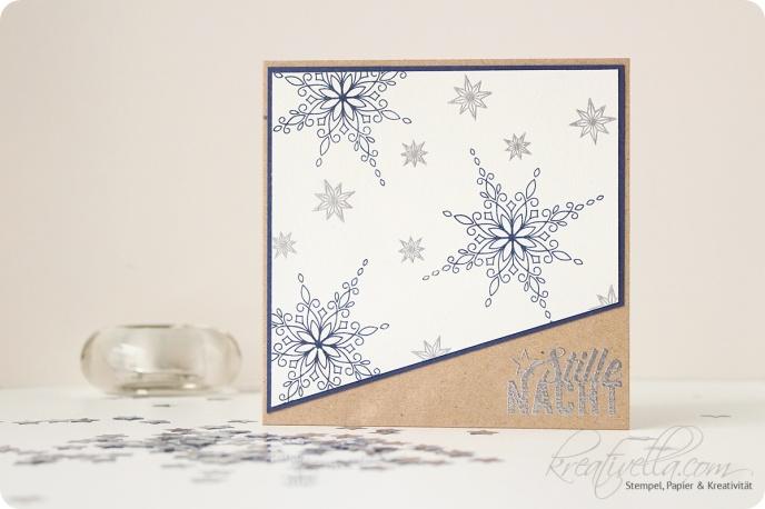Weihnachtskarte Christmas Card Sterne Weihnachtsstern Weihnachtspotpourri Stille Nacht Heilige Nacht Winter Glückwunschkarte Post Brief selbstgemacht altmodisch blau weiß silber embosst embossing Stars Night Craft natural Stampin' Up 2016