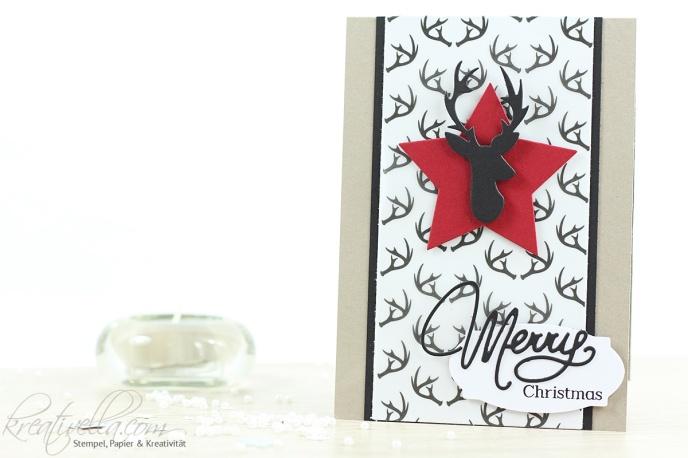 Weihnachtskarte Rentier Elch Merry Christmas Geweih besonderes Designerpapier Winterwunderland Tierisch Trend selbstgemachte Karte Clearly besotted Stampin' Up! 2016