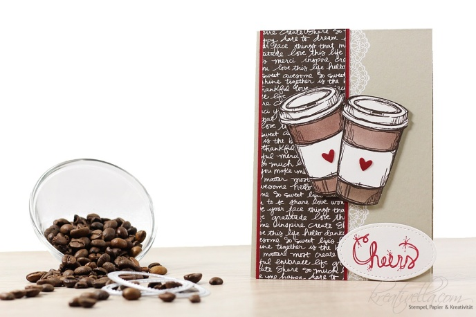 Geburtstagskarte Birthdaycard Kaffee Coffee Perfect blend friends beloved to go Cheers Love Sparkles Delicate Details SaB 2017 Stampin' Up! Frühjahrskatalog Glitzer DsP Typo Schrift Neutrals