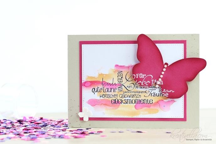 Glückwunschkarte Schmetterling Butterfly Spotlight Technik Stanzen Watercolor Wings Steckenpferdchen Twinkling H2O embosst Hervorhebung Akzent Stampin' Up! Kreativella 2017