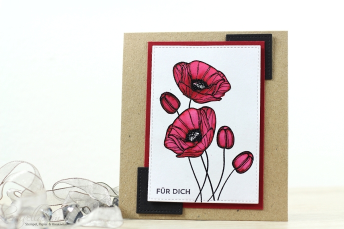 Mohnblumen technique tuesday für dich grußkarte einfach so rot aquarell embossing embosst ausgemalt wasserfarbe clean simple cas giveaway
