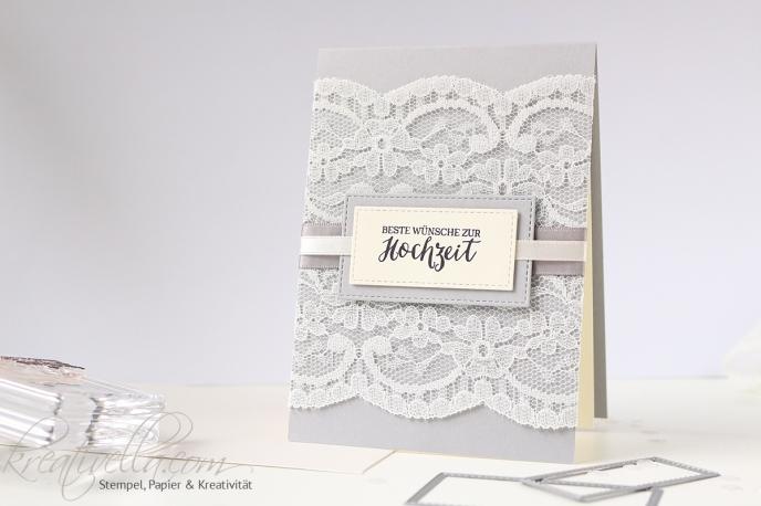 Hochzeitskarte edel spitze lace elegant Kleid schick stitched Satin Band Stampin' Up! Rosenzauber