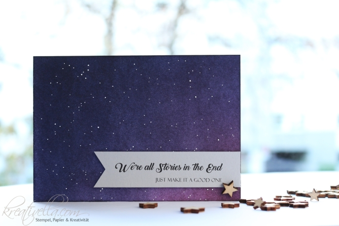 Doctor Who Whovian DrWho Card Karte Galaxy Galaxie Distress Himmel Sterne Sternbild kleiner Wagen Stories good one Kreativella 2017