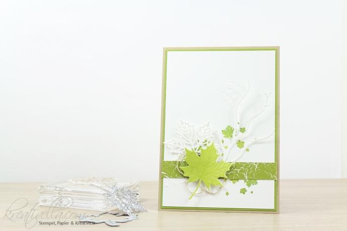 Blätter Jahr voller Farben Stampin Up Herbst-Winter-Katalog Katalogbeileger Give away Karte christmas catalog Season Strukturpaste gelb grün Thinlits 2017