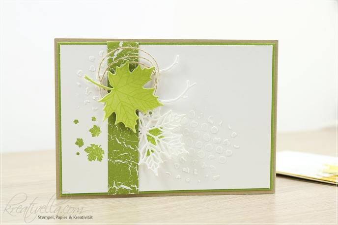 Blätter Jahr voller Farben Stampin Up Herbst-Winter-Katalog Katalogbeileger Give away Karte christmas catalog Season Strukturpaste gelb grün Thinlits 2017 Nahaufnahme