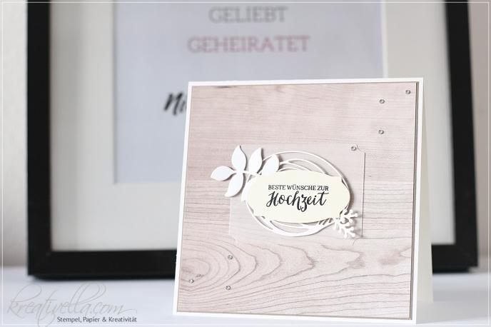 Hochzeitskarte edel Landhausstil Holz Papier DIY elegant schlicht DIY selbstgebastelt Stampin' Up! München 2017