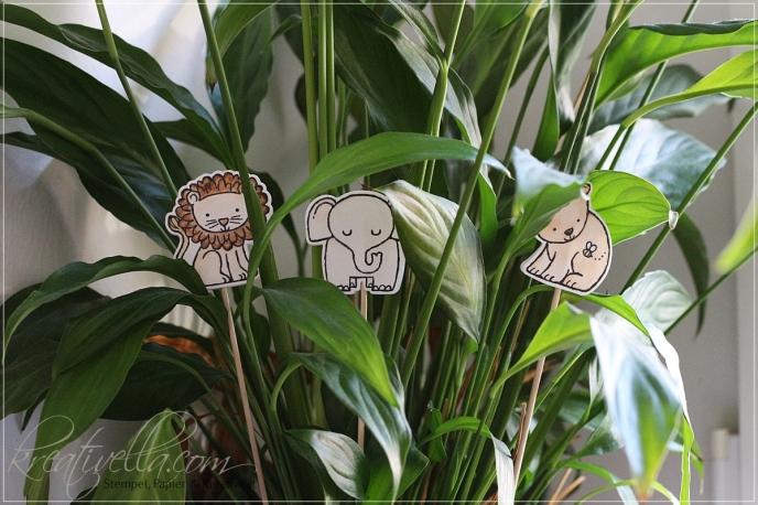 Babyparty Deko Dekoration Tierisch Anhänger Blumenstecker Löwe Elephant Bär Bärchen Thinlits Stampin Up